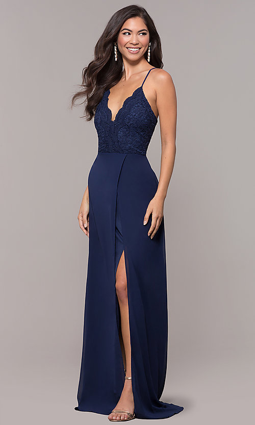 Image of long navy prom dress with v-neck lace bodice. Style: LP-27796 Detail Image 3