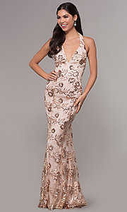 Image of long v-neck halter sequin-embroidered prom dress. Style: LP-25788 Front Image