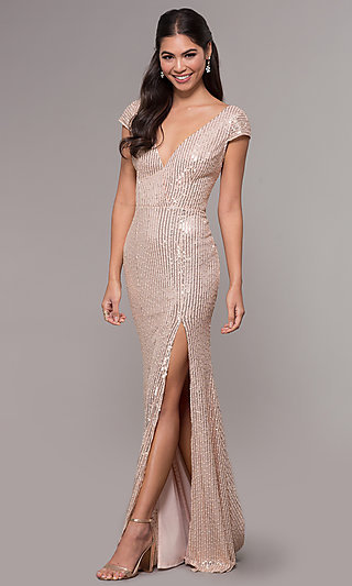 Long Sequin V-Neck Rose Gold Formal Prom Dress