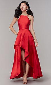 Image of high-neck high-low long prom dress by PromGirl. Style: LP-27492 Detail Image 6