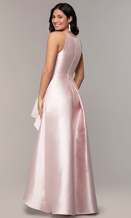 Image of high-neck high-low long prom dress by PromGirl. Style: LP-27492 Detail Image 4