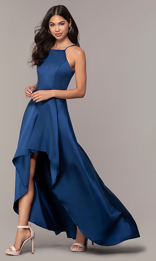Image of high-neck high-low long prom dress by PromGirl. Style: LP-27492 Front Image
