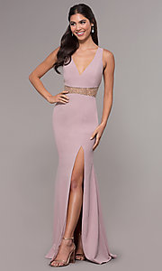 Image of long beaded-waist v-neck prom dress with slit. Style: LP-25894 Detail Image 4