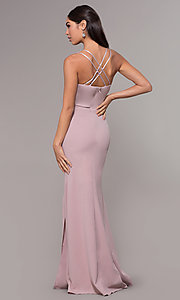 Image of long beaded-waist v-neck prom dress with slit. Style: LP-25894 Detail Image 5