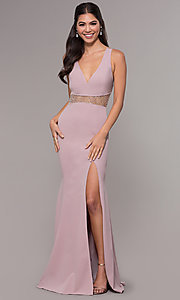 Image of long beaded-waist v-neck prom dress with slit. Style: LP-25894 Detail Image 8