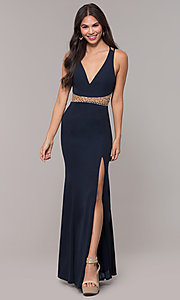 Image of long beaded-waist v-neck prom dress with slit. Style: LP-25894 Detail Image 3