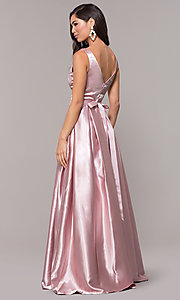 Image of long v-neck satin a-line prom dress with beads. Style: LP-25832 Detail Image 5