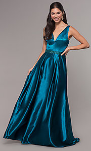 Image of long v-neck satin a-line prom dress with beads. Style: LP-25832 Front Image