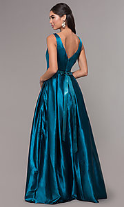 Image of long v-neck satin a-line prom dress with beads. Style: LP-25832 Back Image