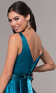 Image of long v-neck satin a-line prom dress with beads. Style: LP-25832 Detail Image 2
