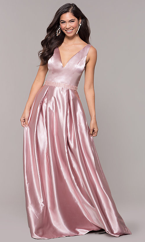 Image of long v-neck satin a-line prom dress with beads. Style: LP-25832 Detail Image 4
