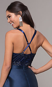 Image of long a-line embroidered v-neck navy blue prom dress.  Style: LP-27701 Detail Image 2