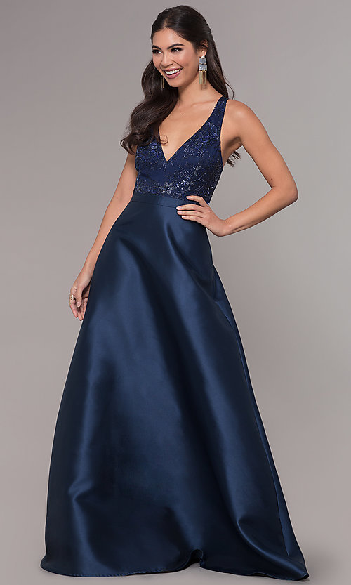 Image of long a-line embroidered v-neck navy blue prom dress.  Style: LP-27701 Front Image
