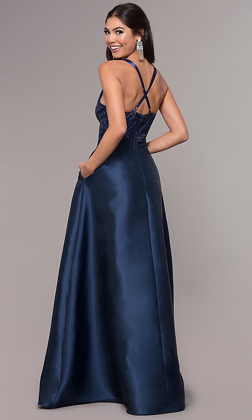 Image of long a-line embroidered v-neck navy blue prom dress.  Style: LP-27701 Back Image