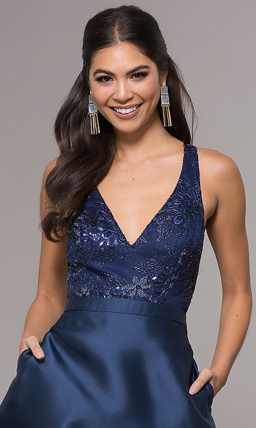 Image of long a-line embroidered v-neck navy blue prom dress.  Style: LP-27701 Detail Image 1