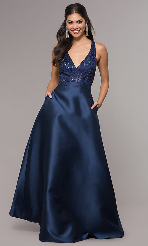 Image of long a-line embroidered v-neck navy blue prom dress.  Style: LP-27701 Detail Image 3