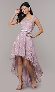 Image of high-low prom dress with illusion-sweetheart bodice. Style: LP-24056-1 Detail Image 3