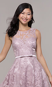Image of high-low prom dress with illusion-sweetheart bodice. Style: LP-24056-1 Detail Image 5