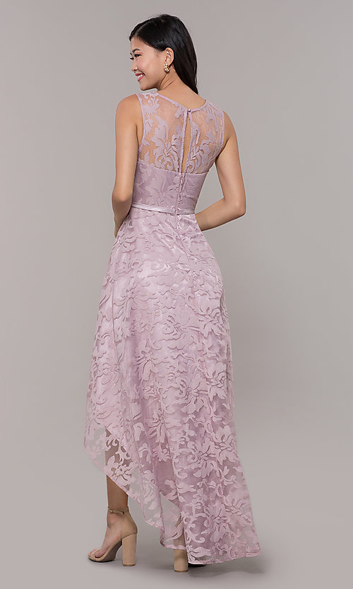 Image of high-low prom dress with illusion-sweetheart bodice. Style: LP-24056-1 Detail Image 4