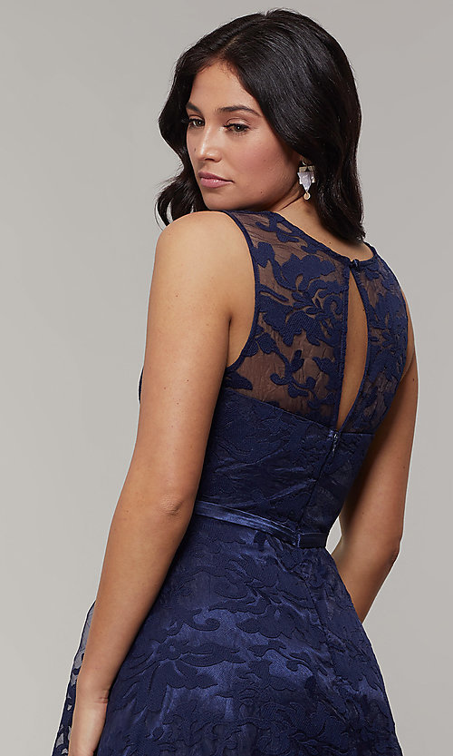 Image of high-low prom dress with illusion-sweetheart bodice. Style: LP-24056-1 Detail Image 2