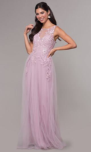 Long Tulle Embroidered Applique Bodice Prom Dress