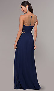 Image of long prom dress with embroidered scoop-neck bodice. Style: LP-25803 Back Image