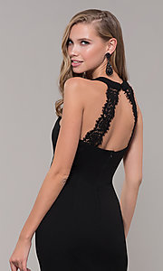 Image of long high-neck prom dress with slit. Style: LP-25518 Detail Image 2