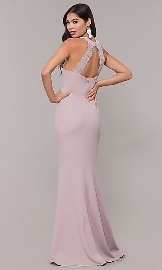 Long High-Neck Prom Dress with Slit