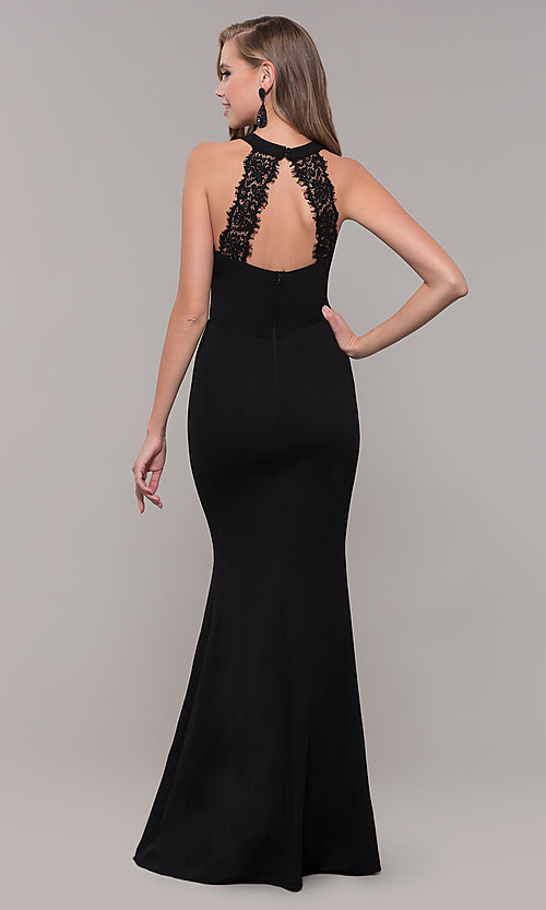 Image of long high-neck prom dress with slit. Style: LP-25518 Front Image