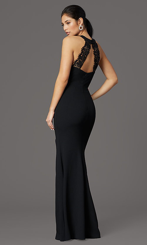 Image of long high-neck prom dress with slit. Style: LP-25518 Back Image