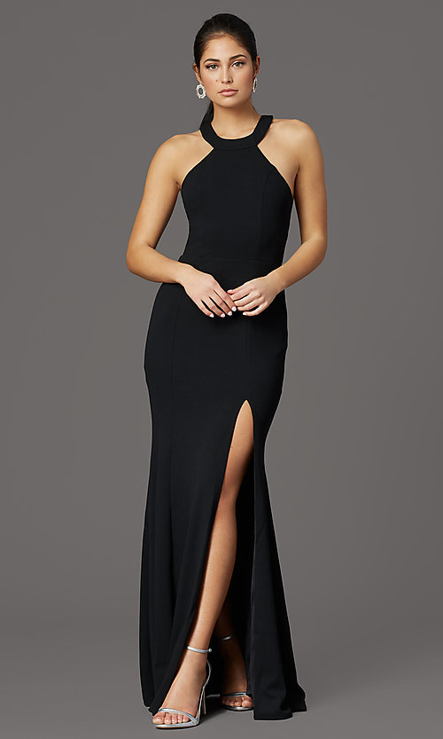 Image of long high-neck prom dress with slit. Style: LP-25518 Detail Image 1