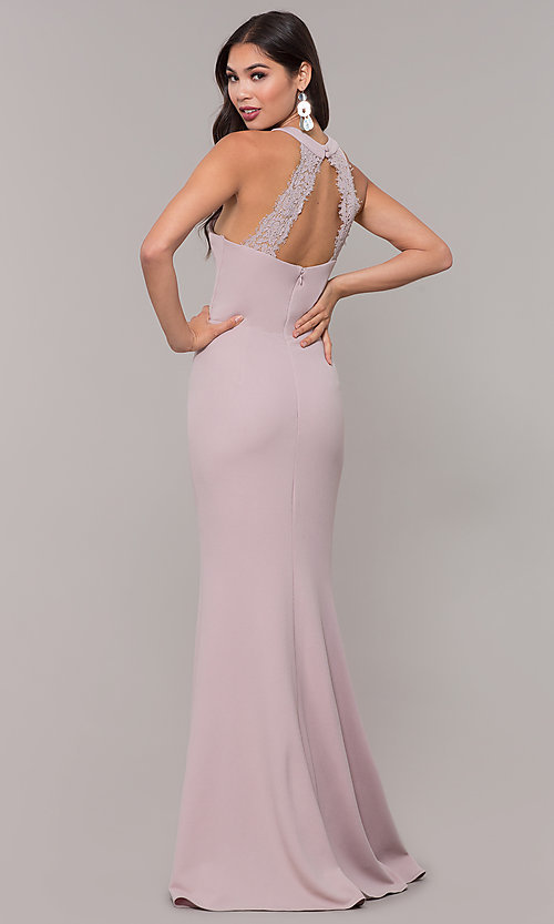 Image of long high-neck prom dress with slit. Style: LP-25518 Detail Image 4