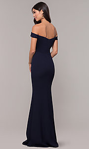 Image of long embroidered-bodice off-shoulder navy prom dress. Style: LP-25557 Back Image