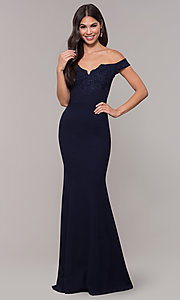 Image of long embroidered-bodice off-shoulder navy prom dress. Style: LP-25557 Detail Image 3