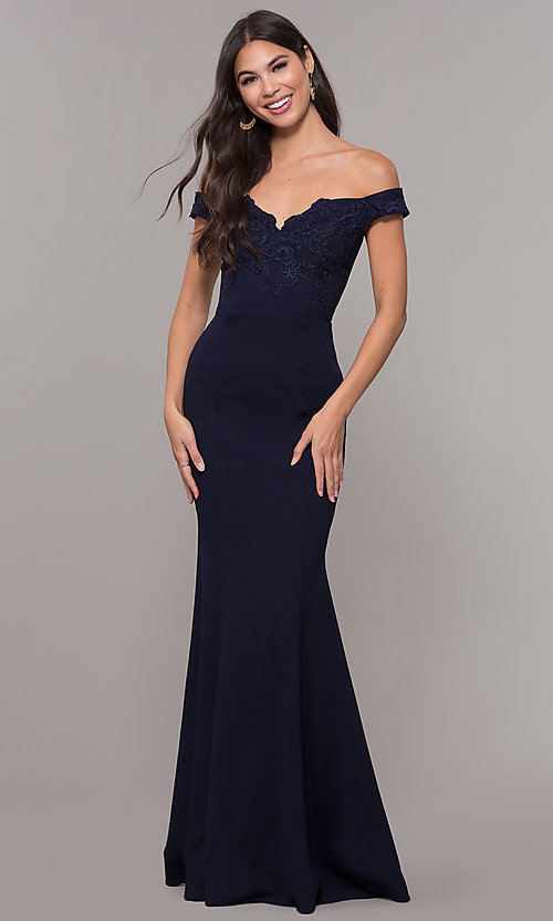 Image of long embroidered-bodice off-shoulder navy prom dress. Style: LP-25557 Front Image