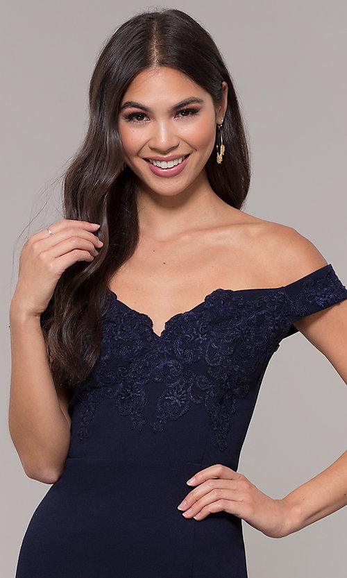Image of long embroidered-bodice off-shoulder navy prom dress. Style: LP-25557 Detail Image 1