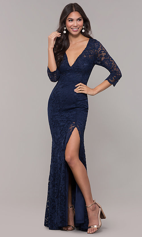 Image of long v-neck lace 3/4-sleeve prom dress. Style: LP-27691 Front Image