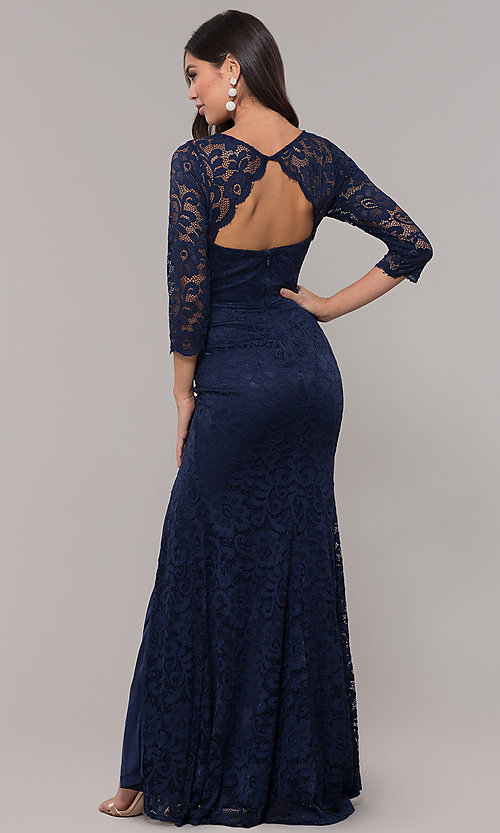 Image of long v-neck lace 3/4-sleeve prom dress. Style: LP-27691 Back Image