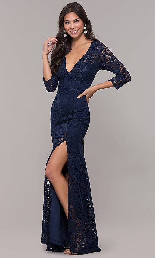 Image of long v-neck lace 3/4-sleeve prom dress. Style: LP-27691 Detail Image 3