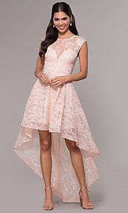Image of high-low lace scoop-neck prom dress. Style: LP-27502 Detail Image 3