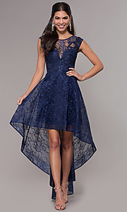 Image of high-low lace scoop-neck prom dress. Style: LP-27502 Front Image