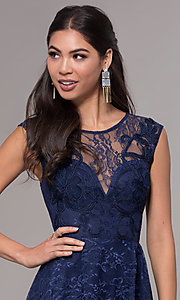 Image of high-low lace scoop-neck prom dress. Style: LP-27502 Detail Image 1