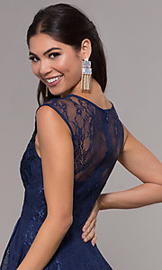 Image of high-low lace scoop-neck prom dress. Style: LP-27502 Detail Image 2