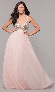 Image of long tulle sequin-bodice prom dress. Style: LP-25890 Front Image