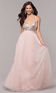 Image of long tulle sequin-bodice prom dress. Style: LP-25890 Detail Image 3