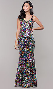Image of long sequin v-neck prom dress. Style: LP-25944 Detail Image 4