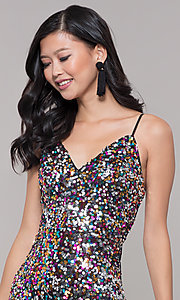 Image of long sequin v-neck prom dress. Style: LP-25944 Detail Image 6