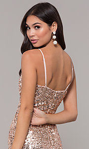 Image of long sequin v-neck prom dress. Style: LP-25944 Detail Image 2