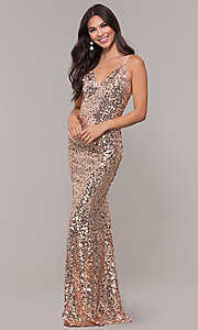 Image of long sequin v-neck prom dress. Style: LP-25944 Detail Image 3