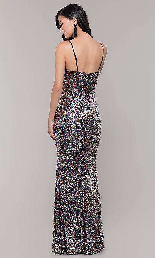 Image of long sequin v-neck prom dress. Style: LP-25944 Detail Image 5